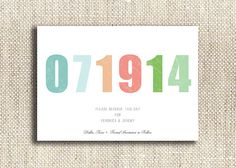 Pastel Numbers / DIY Print at Home Save the Date by CityBeeDesign, $35.00