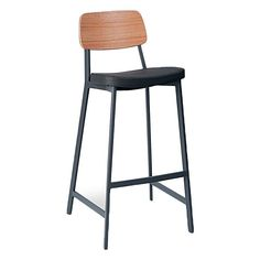 Adopt strapping design in your bar with the comfortable seating of the Bately Luxe Bar Stool, Oak/Charcoal, 75cm from Multi.