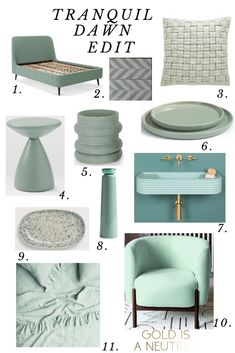 Mar 2020 - Beautiful interiors to inspire you how to use Tranquil Dawn, Dulux's Colour Of The Year for in your home. See shades of Sage and mint greens in kitchens, bathrooms and bedrooms, and an edit of the best pieces on the high street. Mint Living Rooms, Living Room Green, Bedroom Green, Bedroom Colors, Green Rooms, Bedroom Ideas, Beautiful Interiors, Colorful Interiors, Room Color Schemes