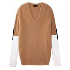Color-block + camel + cozy = the PERFECT fall knit - Sonia Rykiel Contrast Camel Rib-Knit Sweater