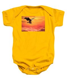 Purchase a baby onesie featuring the image of Soaring High by Faye Anastasopoulou.  Available in sizes S - XL.  Each onesie is printed on-demand, ships within 1 - 2 business days, and comes with a 30-day money-back guarantee.   apparel, wear, clothing, summer, designed, artistic, unique, orange, eagle, unisex