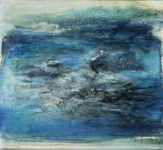 Zao Wou-Ki (Zhao Wuji) (B. Composition en bleu photo courtesySotheby's Oil on canvas. Executed in Signed in pinyin and Chinese (lower right); signed in pinyin and dated (reverse); Abstract Landscape, Landscape Paintings, Abstract Paintings, Georges Mathieu, Abstract Art Images, Encaustic Painting, Contemporary Artwork, Art Graphique, Composition