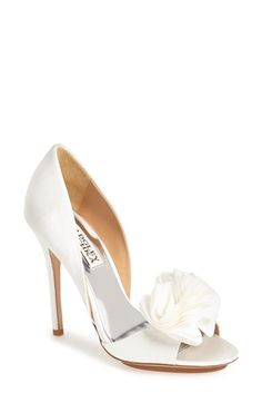Wedding Shoes Badgley Mischka 'Blossom' Open Toe d'Orsay Pump. With its feminine flourish and flattering, wrapped heel, this exquisite satin pump is a modern classic that's ready for your next soirée.