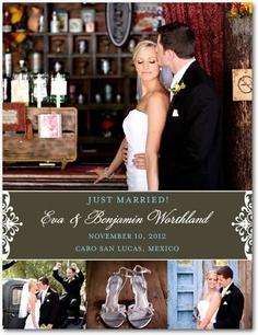 Wedding Announcement Postcards Filigree Collage - Front : Dark Gray