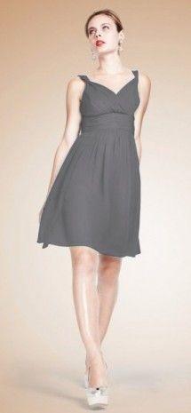 Grey V-neck Empire Waist Midnight Chiffon Bridesmaid Dress G199  $59.99