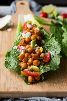 These BBQ chickpea lettuce wraps with vegan ranch dressing are bursting with sweet and smokey bbq flavour and are great for light & easy vegan lunches.