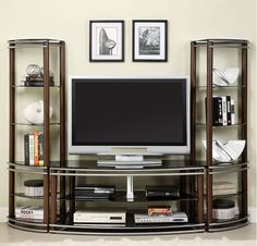 Black wood entertainment center tv wall unit decor ideas decoration items luxuriant decorating white for living . Furniture, Entertainment Wall Units, Cool Tv Stands, Home, Curved Tv Stand, Coaster Furniture, Wildon Home, Furniture Of America, Contemporary Tv Stands