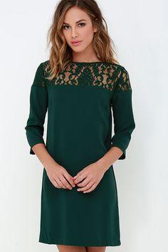 BB Dakota Keagan Dark Green Lace Dress at Lulus.com!