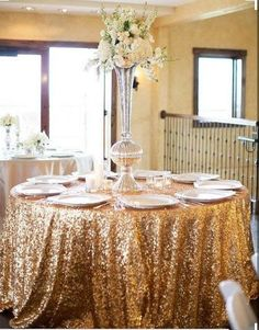 This Gold Sequin Tablecloth is perfect for your Wedding , Bridal shower, Christmas party or any other event.  This Gold color can go with any decor.    These items are made to order and as such require 6 to 10 days from date of purchase for shipping out of the orders.    Purchase a sequin sample swatch below: https://www.etsy.com/listing/463699789   Please visit our store at: https://www.etsy.com/shop/GlitzyDecor