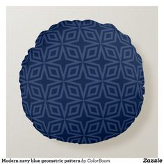 Modern navy blue geometric pattern round pillow Navy Blue Bedrooms, Blue Living Room Decor, Blue Home Decor, Navy Blue Cushions, Navy Blue Throw Pillows, Soft Pillows, Living Room Cushions, Personalized Pillows, Round Pillow