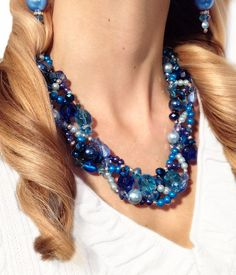 Sale! Bright blue and beautiful for the winter season...     SALE PETITE TWISTED Statement Necklace Blue by JewelryByJessicaT, $30.00