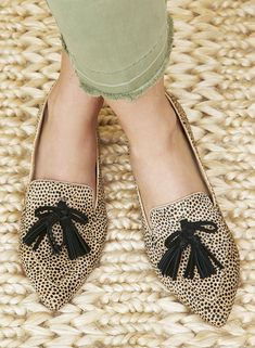 Cheetah dot pointed loafers with tassel bows | Sole Society Hadlee