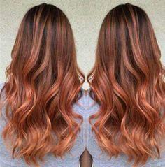 Brown to rose gold hair