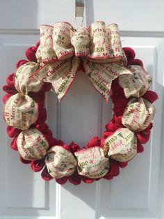 red christmas wreath red burlap christmas wreath burlap christmas wreath christmas burlap door decor red holiday wreath holiday decor rts - Christmas Burlap