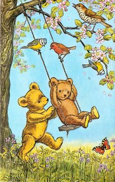 A SWING FOR TEDDY  Molly (Mary Elizabeth) Brett (1902–1990) was an English illustrator and children's author, best known for her anthropomorphic artwork.