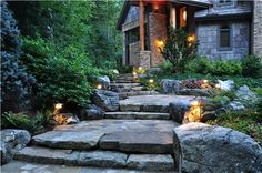 log homes landscaping front entrance pictures   The Transformation & Preservation of a Steep, Wooded Property