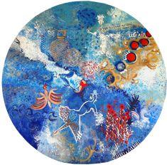 """""""Courant d'air"""" acrylique et technique mixte diam. 100 cm Air, Plates, Board, Licence Plates, Dishes, Plate, Dish"""