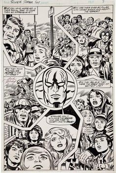 Original page by Jack Kirby and Joe Sinnott from The Silver Surfer graphic novel, published by Marvel, Comic Book Pages, Comic Book Artists, Comic Artist, Comic Books Art, Kirby Co, Jack Kirby Art, Dc Comics, Comic Book Collection, Bristol Board