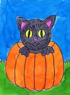 Cat in a Pumpkin Painting