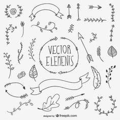 Elementos vectoriales dibujados a mano