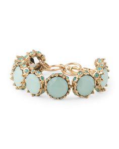 Gold Tone Plated Brass Teal Stone Link Bracelet - BELLA JACK- $19.99 - T.J. Maxx