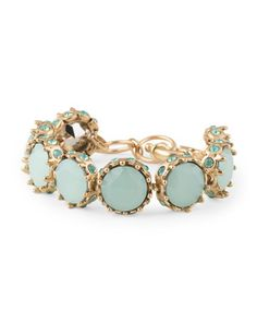 Gold Tone Plated Brass Teal Stone Link Bracelet - BELLA JACK- $19.99 - T.J. Maxx