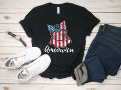 Ameowica Shirt Independence Day Cat Shirt Happy Independence Day Gift #fashion #clothing #shoes #accessories #unisexclothingshoesaccs #unisexadultclothing (ebay link) First Halloween, Funny Outfits, Happy Independence Day, Cute Tshirts, Cotton Style, New Kids, Unisex, Cat, Hoodies