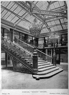 Steampunk Tendencies  | The Staircase inside Burnham & Root's Rookery Building, Chicago #Architecture #Victorian