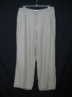 a794d07b4db2 Chico's Wide Leg Linen Pants Women Size 2 Green Khaki Loose Light Weight  Chicos #Chicos