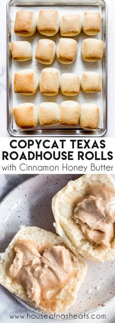These buttery & soft Copycat Texas Roadhouse Rolls are completely irresistible when served warm with whipped cinnamon honey butter! The fluffy, melt-in-your-mouth tender rolls are casual enough and easy for family dinners on Sunday evenings, but they are also worthy of a spot on the table when it's holiday season and you're assigned to bring the rolls! #Texas #rolls #homemade #best #easy #copycat #texasroadhouse #soft #fluffy #dinner #butter