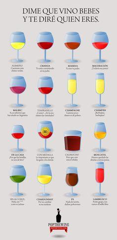 Dime que vino bebes y te diré quién eres Wine Guide, Types Of Wine, Wine O Clock, Wine Cheese, Wine Cellar, Etiquette, Coffee Drinks, Bartender, Vitis Vinifera