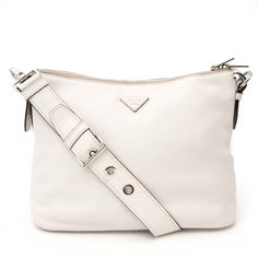 46570590b1d5a4 Labellov Prada White Leather Shoulder Bag ○ Buy and Sell Authentic Luxury