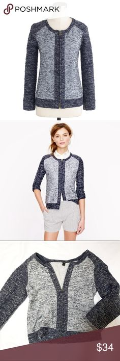 J Crew Boucle Jacket Indigo Boucle zip-up jacket from J Crew. EUC. J. Crew Jackets & Coats