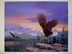 Majestic Eagle Mountains Print Lithograph Larry D. Negaard Listed Artist S/N LE