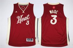 4060c19cd79 Youth Miami Heat  3 Dwyane Wade red 2015-2016 Christmas Day Jersey