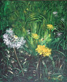 Painting by Gitta Landgraf, 50 x 60 cm, Acryl/Leinen/Canvas Dandelion Painting, Original Paintings, Original Art, Spring Time, Spring Summer, Nature Paintings, Acrylic Art, Portrait, Art For Sale