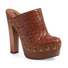"Rachel Zoe 'Tam' Platform Clog, 5 1/2"" heel ($378) ❤ liked on Polyvore featuring shoes, clogs, cotto soft vachetta, leather platform shoes, lined clogs, studded clogs, slip on clogs and leather slip on shoes"