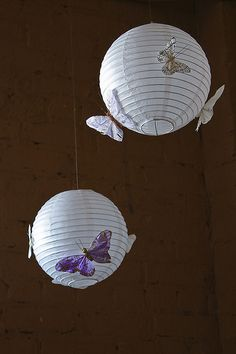 Butterfly lanterns for garden wedding decor