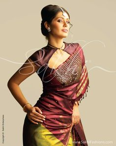 This website has a lot of unconventional sarees. I am finding it hard to judge which is good. Kanchi Silk With Mirror Work,sakhi fashion,saree,sari
