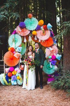 arche de mariage decorations papier utlra colores mariage mexicain
