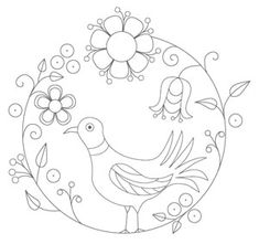 Bird Embroidery Pattern 1 pattern (from The Floss Box) ($1.25) (http://www.theflossbox.com/store/pattern/folk-art-bird-embroidery-1)