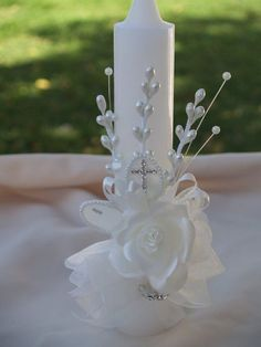 OFFWhite Baptism Candle beautiful Vintage asares and flowers, Christening, Presentation Ceremony Traditions, Girl, White Candles, Pillar Candles, Beeswax Candles, Vintage Baptism, Baptism Candle, Deco Floral, Beautiful Candles, First Holy Communion, Communion Dresses