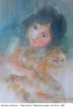 Maya with Cat Demetrio, Maya, Painting, Painting Art, Paintings, Painted Canvas, Maya Civilization, Drawings