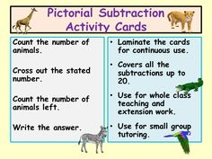 Animal Picture Subtraction Activity Cards - taking away within 20