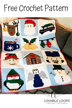 This festive crochet Christmas blanket is easier to make than it looks! Simply crochet each graph (graph or written instructions) and sew them together! Christmas Crochet Blanket, Christmas Afghan, Christmas Crochet Patterns, Holiday Crochet, Crochet Ornaments, Crochet Snowflakes, Christmas Angels, Christmas Knitting, Christmas Bells