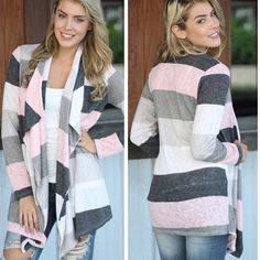 Striped Cardi pink and gray striped cardi. prices are firm unless bundled. Sweaters Cardigans