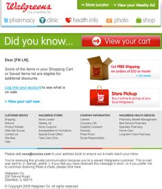 Walgreens cart abandonment email