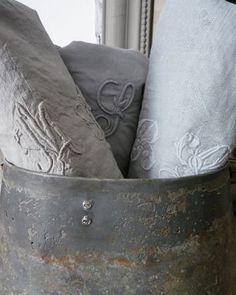 Vintage monogrammed linens can always be dyed. These are from Owen and Hunter Shabby Vintage, Shabby Chic, Vintage Linen, Vintage Table, French Vintage, French Grey, French Kiss, Country French, French Chic