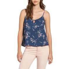 Women's Lush Keyhole Tank ($35) ❤ liked on Polyvore featuring tops, dusty blue floral, floral tank, cami top, blue cami, floral tops and floral cami