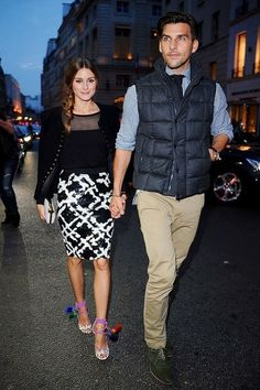 Olivia Palermo and Johannes Huebl: om the way Moncler New Flagship Opening in Paris at Rue Du Faubourg Saint-Honore on September 26, 2013 in Paris, France. I love those shoes.